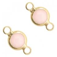 Tussenstuk crystal glas rond pink opal goud