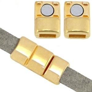 DQ magneetsluiting voor 5mm plat leer goud