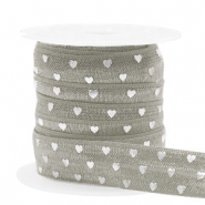 Elastisch Ibiza lint 15mm hearts taupe silver