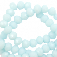 Facet kralen 4x3mm bleached aqua blue shine
