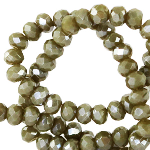 Facet kralen 4x3mm dark sage green pearl shine