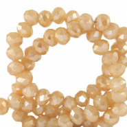 Facet kralen 4x3mm peachy beige half gold shine