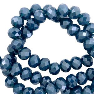 Facet kralen 4x3mm peacoat blue pearl shine