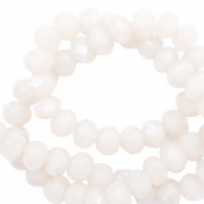 Facet kralen 4x3mm soft white pearl shine