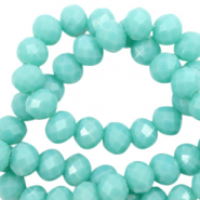 Facet kralen 4x3mm tiffany blue pearl shine