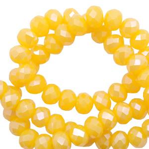 Facet kralen 6x4mm freesia yellow opal pearl