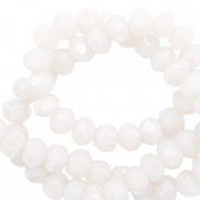 Facet kralen 6x4mm soft white pearl shine