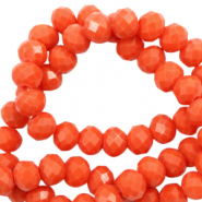 Facet kralen 6x4mm tangerine tango red pearl shine