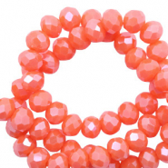 Facet kralen 6x4mm tigerlily coral red pearl shine