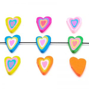Houten kralen mix hart