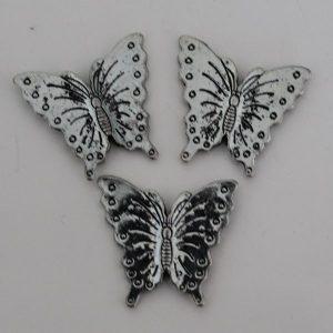 Kralen vlinder groot zilver