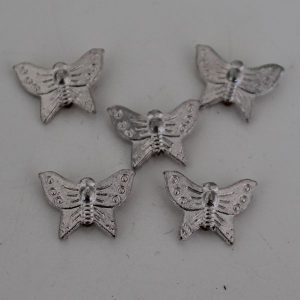 Kralen vlinder klein zilver