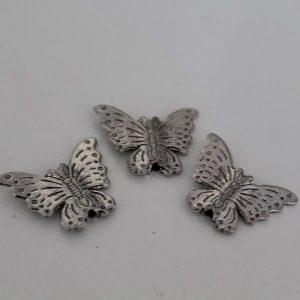 Kralen vlinder zilver