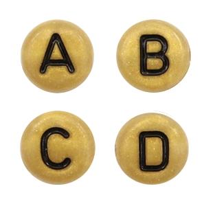 Letterkralen 7mm goud zwart