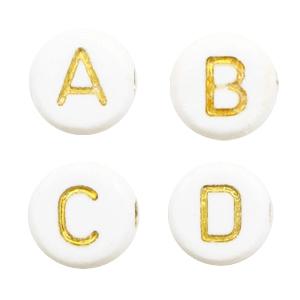 Letterkralen 7mm wit goud