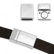 Magneetsluiting voor 10mm plat leer zilver