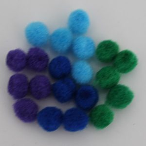 Pompoms 8mm mix blauw