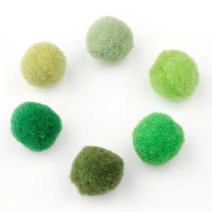Pompoms mix 15mm groen