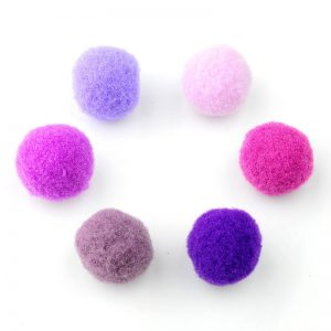 Pompoms mix 15mm paars