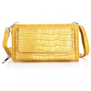 Portemonnee schoudertas croco geel 2