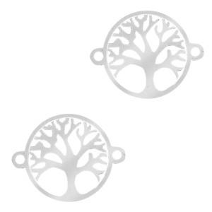 Stainless steel tussenstuk levensboom zilver