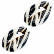 Kauri schelp zebra zwart wit
