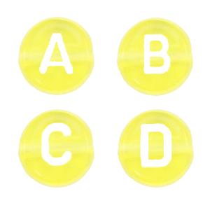 Letterkralen 7mm geel transparant