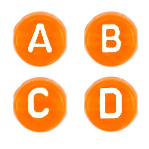 Letterkralen 7mm oranje transparant