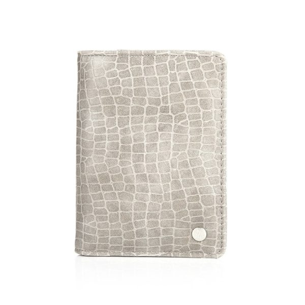 Paspoorthoesje croco grijs