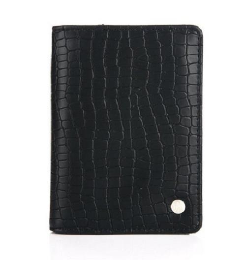 Paspoorthoesje croco zwart