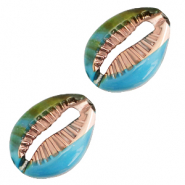 Resin kauri schelp cyan blue