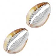 Resin kauri schelp mixed brown zilver
