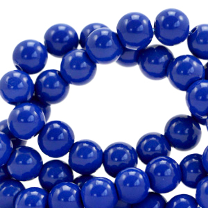 Glaskralen 6mm opaque strong blue