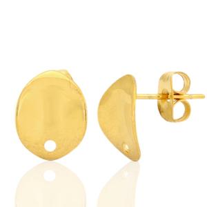 Stainless steel oorbellen ovaal 2.0 goud