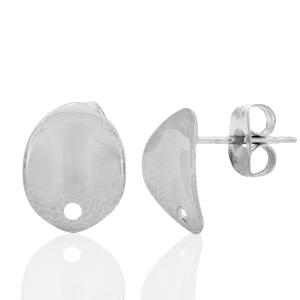 Stainless steel oorbellen ovaal 2.0 zilver