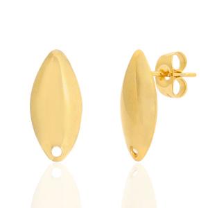 Stainless steel oorbellen ovaal goud