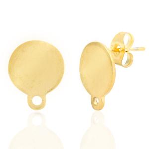 Stainless steel oorbellen rond goud