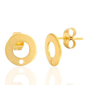 Stainless steel oorbellen roundie goud