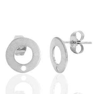 Stainless steel oorbellen roundie zilver