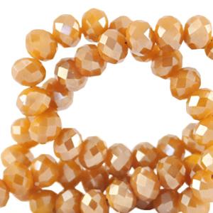 Facet kralen 4x3mm bleached apricot orange pearl shine