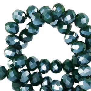 Facet kralen 4x3mm eden green pearl shine
