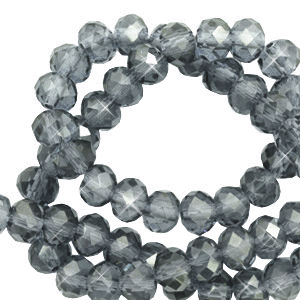 Facet kralen 4x3mm steel blue pearl shine