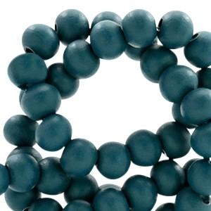 Houten kralen 6mm dark teal blue
