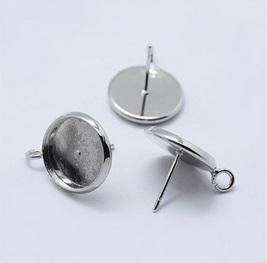 Oorbellen voor 12mm cabochon zilver