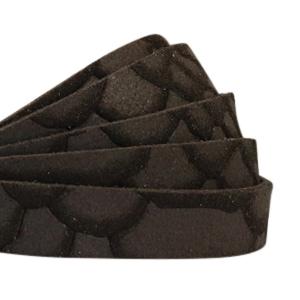 Plat sueéde reptile 10mm brown black