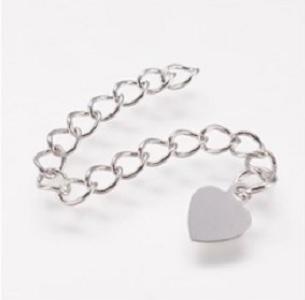 Verlengketting hart zilver