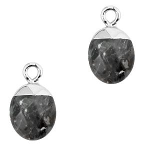 Natuursteen hanger anthracite silver