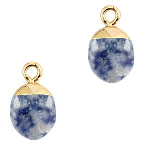 Natuursteen hanger blue white gold