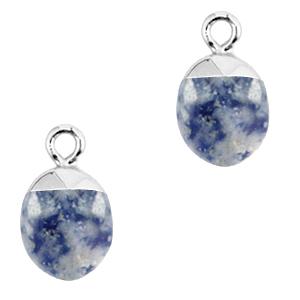 Natuursteen hanger blue white silver