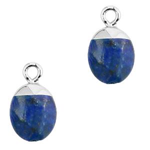Natuursteen hanger dark blue silver